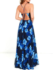 Fashion V Collar High Waist Beach Maxi Dress