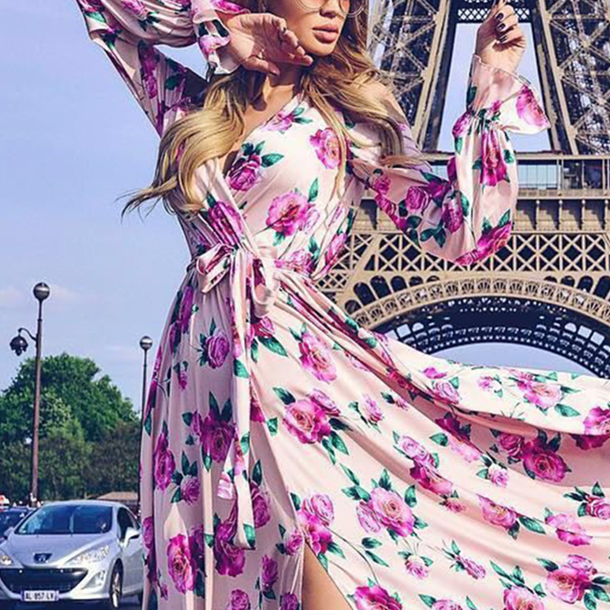 0fc54cefe5f Sexy Long Sleeves Floral Print Vacation Maxi Dress – maxpassion