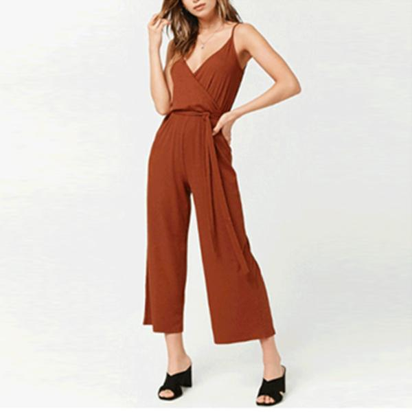Sexy Deep V Collar Plain Camel Belt Jumpsuit