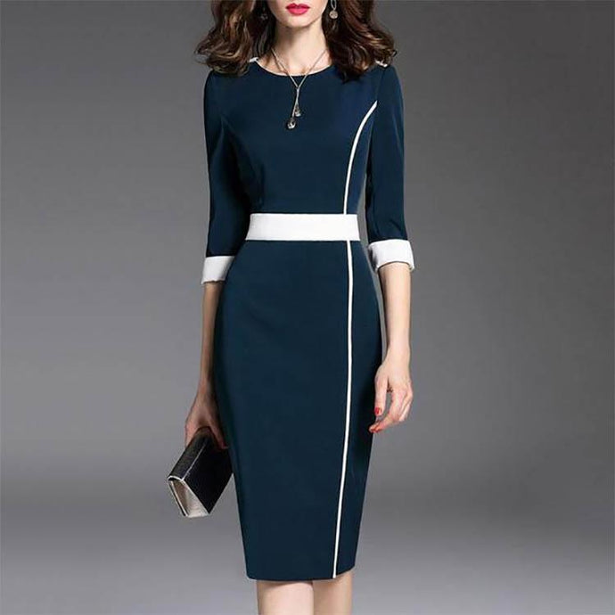 Round Neck  Plain Bodycon Dress  Commuting