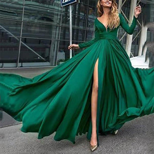 V-Neck Long Sleeve Sides Split Maxi Dress