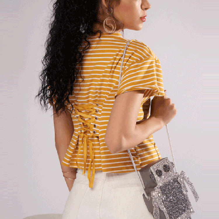 Casual Yellow White Stripe Cross Blinding Blouse
