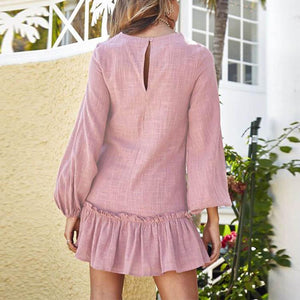Casual Pure Color Round Collar Long Sleeve Pleated Mini Dress