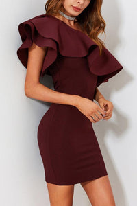 Sexy One Shoulder Short Sleeves Bodycon Dress