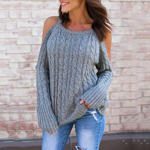 Long Sleeved Hanging Neck Twist Strapless Knit Sweater