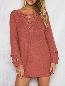 Sexy Fashion Tie-Up  V-Neck Knit Sweater
