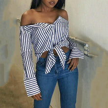 Sexy Off Shoulder Blue Stripe Blinding Bow Shirt