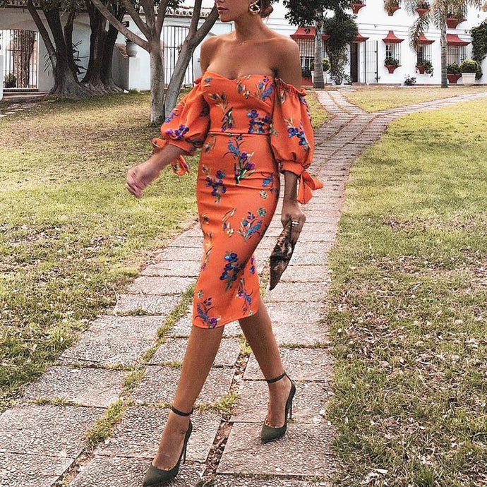 Sexy Orange Red Off Shoulder Floral Print Bodycon Dress