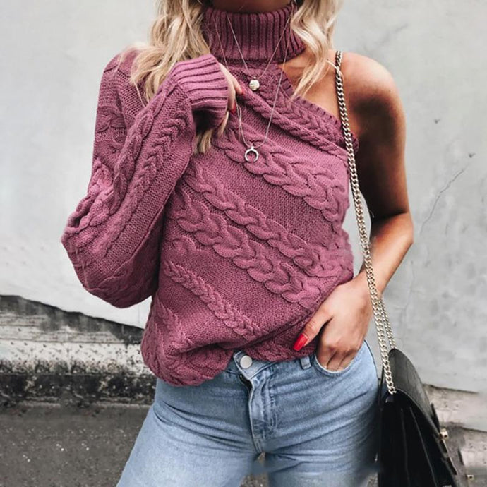Strapless Single-Sleeve Twisted Turtleneck Sweater