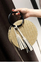 Fashion Plain Straw Chain One Shoulder Round Hand Bag