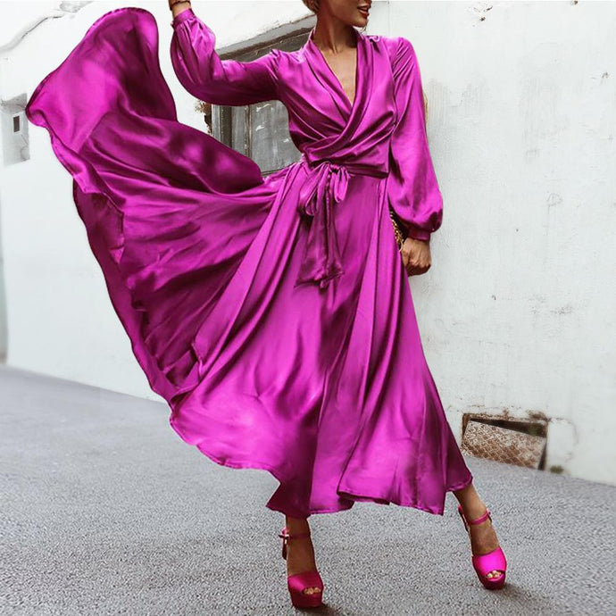Elegant Purple V-Neck  Party Skater Maxi Dress