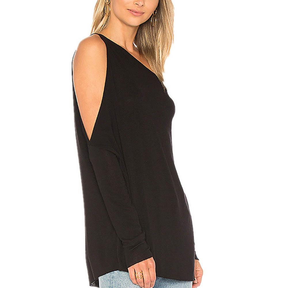 641548595 New Sexy One-Shoulder Solid Color T-Shirt – maxpassion