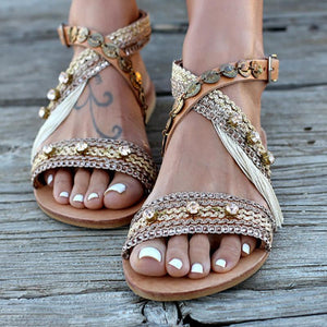 cdda3c94ec6 Flat Bottom Hollowed Out Handmade Casual Sandals