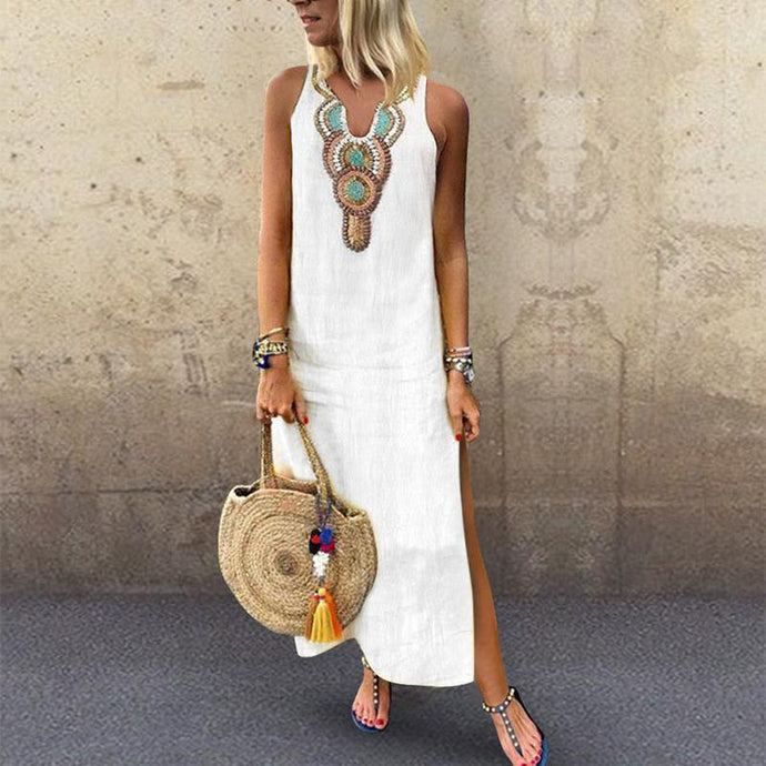 Sexy Side Split V Neck  Printed Sleeveless Casual Shift Dresses