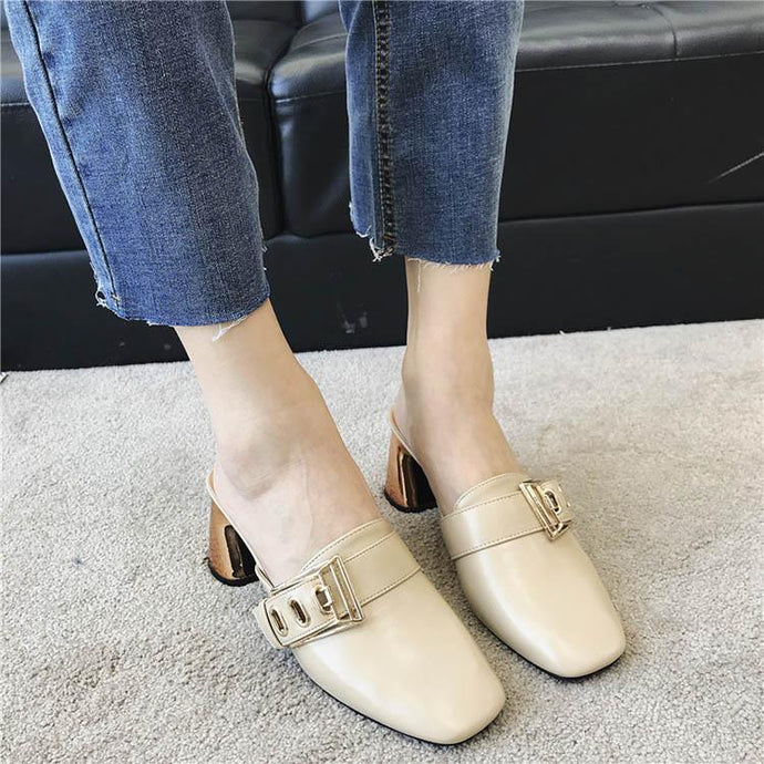 676662d5b0d Pure Color Buckle Thick High Heel Muller Shoes