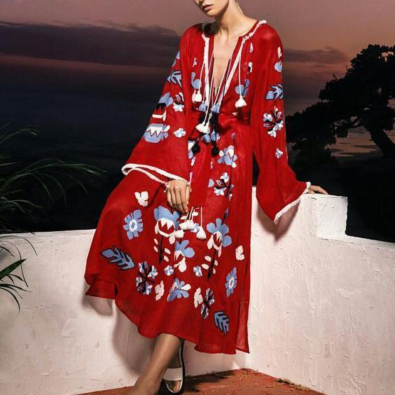 Fashion Floral Printed V-Neck  Bohemian Vacation Tassel Vintage Maxi Dress