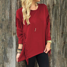 Round Collar Pure Color Tassel Long Sleeve Sweatshirts