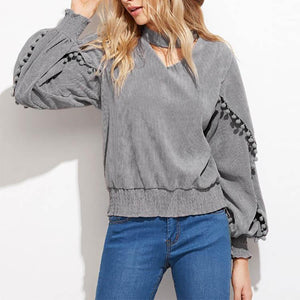 V Collar Halter Ruffled Side With Small Fur Ball  Long Sleeve Sweatshirts