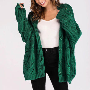 Loose Pure Color V Collar Hollow Long Sleeve Cardigan