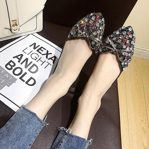 f8959ee98f4 Pointed Rhinestone Soft Bottom Shoes Korean Version Of The Wild Bow Flat  Shoes