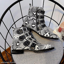 Snakeskin High Metal Rivet Belt Buckle Leather Boots