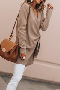 V Neck  Belt  Plain  Sweatershirt Outerwear