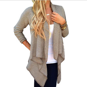 Small Dot Irregular Long Sleeve Knitting Cardigan