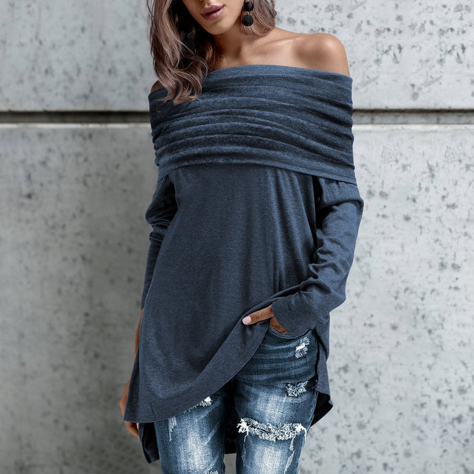 Sexy Off Shoulder Plain Winter Sweater