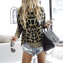 Round Collar Leopard Print Long Sleeve Sweatshirts