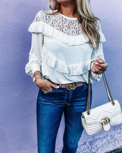 Sexy Perspective Lace Solid Color Lantern Sleeve Top