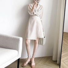 V Collar Pure Color Irregular Shift Dress