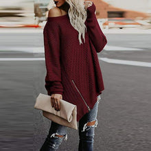 Round Neck Long Sleeve Asymmetrical Hem Zipper Sweaters