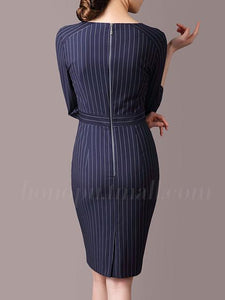 Sweet Heart  Vertical Striped Bodycon Dress