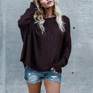 Sexy Long Sleeved Solid Color Sweater