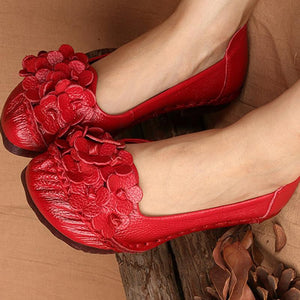 Handmade Ethnic Style Flower Leather Women's Flats