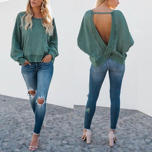 Round Neck Sexy Backless Cross Long Sleeve T-Shirts