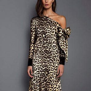 Autumn/Winter Leopard Printed Fashion Satin Maxi Vacation Dress