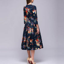 Retro Printing Round Collar Long Sleeve Skater Dress