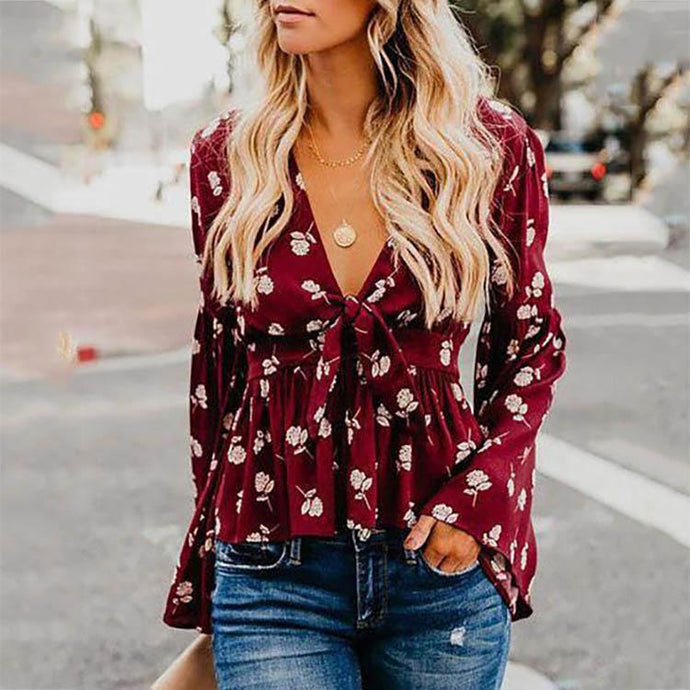 Sexy V-Neck Floral Printed Bell Sleeve Lace Up Shirts