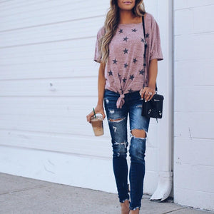 Printed One-Shoulder Loose Tie Knotted Sleeve T-Shirt
