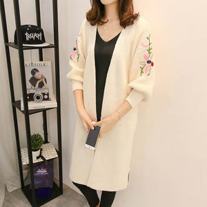 Embroidery Split Long Sleeve Knitting Cardigan