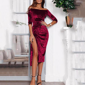 Off Shoulder Pure Color Split Evening Dress