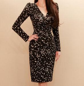 V-Neck Slim Print Fashion Bodycon