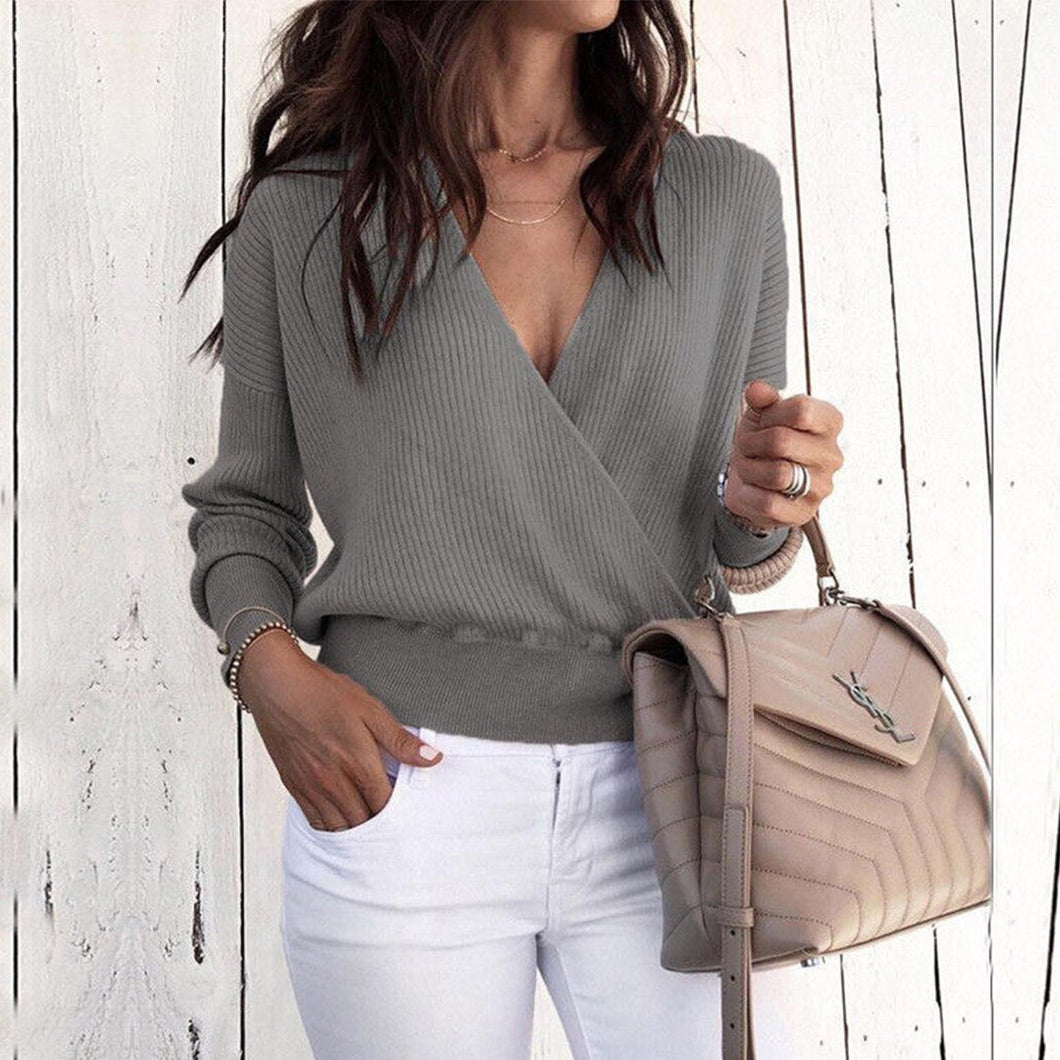 Deep V Long Sleeve Pure Color Sweater
