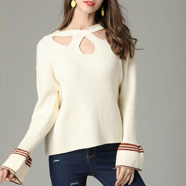 Hollow Halter Flare Sleeve Sweater