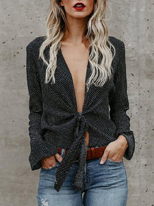Polka Dot Bell Sleeve Lace Up Bow Shirts