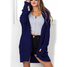 New Loose Solid Long Cardigan With Pocket