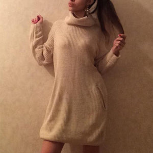 Casual Solid Color Turtleneck Sweater With Pockets