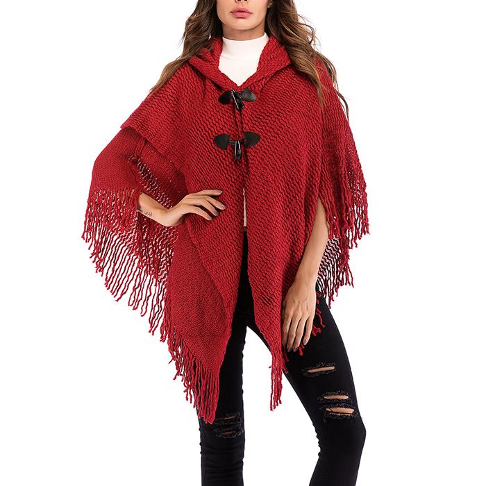 Tassel Loose Bat Sleeves Coats With Button