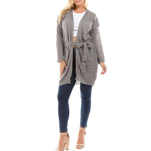 Thin Section With Belt Knit Cardigan